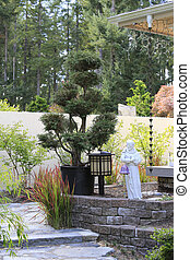 Japanes style landscaping. View of decorative tree, lantern...