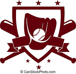 Baseball championship emblem with crossed bats behind a...