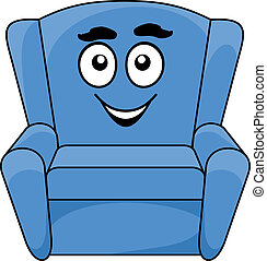 Comfortable upholstered blue armchair with a happy smiling...