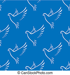 Seamless pattern of flying doves of peace - Seamless...