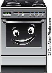 diversión, moderno, estufa, cocina, aparato