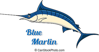 Blue marlin fishing icon with a graceful side view of the...