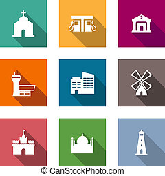 Flat architectural icons set on colorful web buttons...