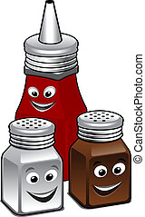 Cartoon condiments icon - Condiments icon with a salt and...