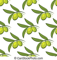 Seamless pattern of fresh green olives on a twig
