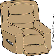 Isolated Recliner - Single cartoon recliner chair on...