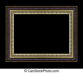 Vintage gold frame with blank space and clipping path