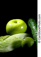 green stuff - group of green vegetables and fruits over...
