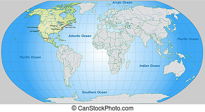 Map of North America and the World with main cities in...
