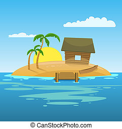 Tropical Island - Tropical island with palms and hut....
