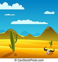Deserto, cartone animato, paesaggio