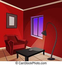 Red Room - Vector illustration of a red chair and floor lamp...