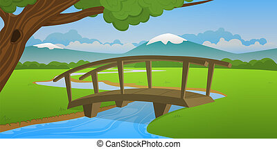 Small wooden bridge - Cartoon landscape design, vector...