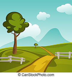 Summer Landscape - Cartoon summer landscape vector design
