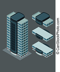 isometric modern building - isometric building, each part is...