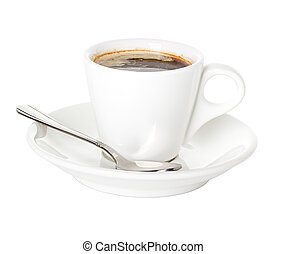 Coffee cup and saucer with a spoon isolated on a white background