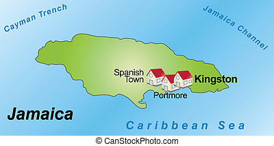 Map of Jamaica as an infographic in green