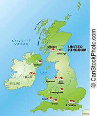 Map of England as an infographic in green