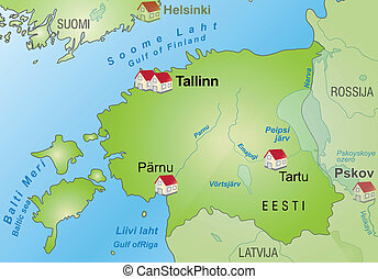 Map of Estonia as an infographic in green