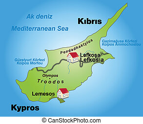 Map of Cyprus as an infographic in green