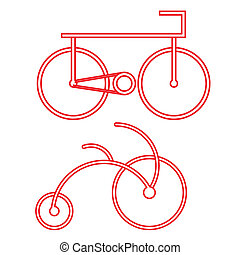 red bicycle symbol vector - image of bicycle symbol isolated...