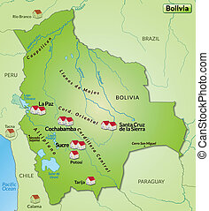 Map of Bolivia as an infographic in green