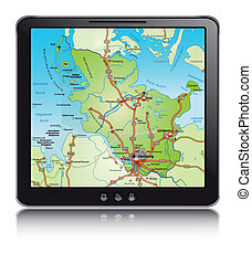 Map of Schleswig-Holstein with highways as a mobile phone