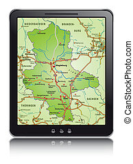 Map of Saxony-Anhalt with highways as a mobile phone