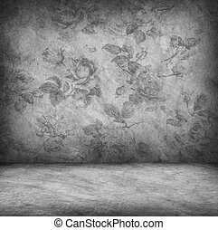 Concrete wall and floor texture with rose wallpaper...