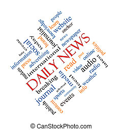 Daily News Word Cloud Concept Angled