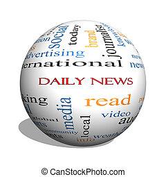 Daily News 3D sphere Word Cloud Concept