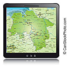 Map of Lower Saxony as a mobile phone