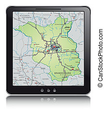 Map of Brandenburg with highways as a mobile phone