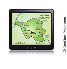 Map of Saarland as a mobile phone