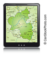 Map of Rhineland-Palatinate as a mobile phone