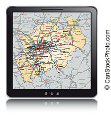 Map of North Rhine-Westphalia as a mobile phone