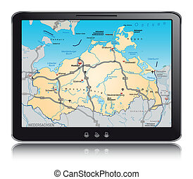 Map of Mecklenburg-Western Pomerania as a mobile phone