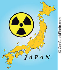 Map of Japan with nuclear power plants in yellow