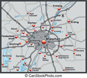 Map of Munich in gray