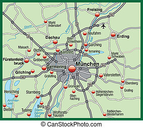 Map of Munich in pastel green