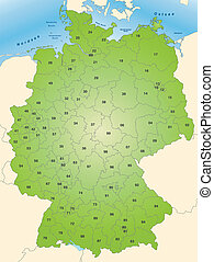 Map of Germany with postcodes in green