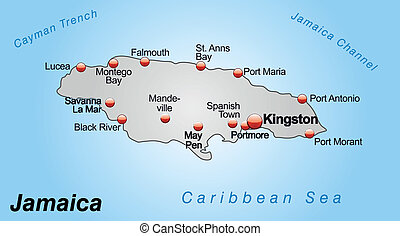 Map of Jamaica as an overview map in gray