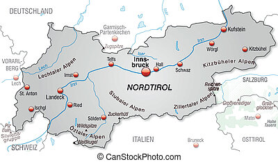 Map of tyrol as an overview map in gray