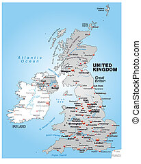 Map of England as an overview map in gray