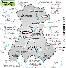 Map of auvergne as an overview map in gray