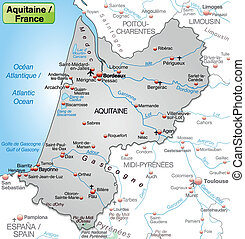 Map of aquitaine as an overview map in gray