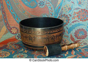 Tibetan singing bowl - metal Tibetan singing bowl against...