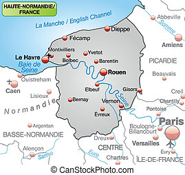 Map of Upper Normandy as an overview map in gray