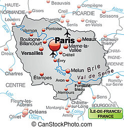 Map of Ile-de-France as an overview map in gray