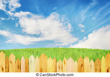 Bright summer landscape with wooden fence
